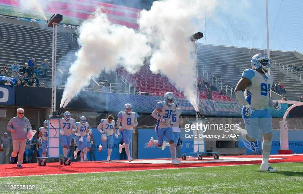 The Salt Lake Stallions take the field before playing against the Memphis Express at Rice Eccles Stadium on March 16 2019 in Salt Lake City Utah