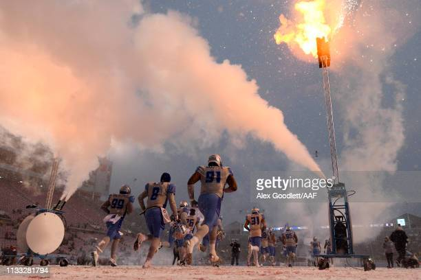 The Salt Lake Stallions take the field prior to their Alliance of American Football game against the Orlando Apollos at Rice Eccles Stadium on March...