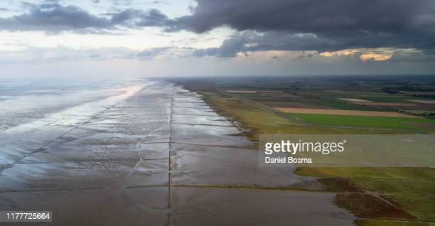 the salt marsh of the netherlands seen from the air - levee stock pictures, royalty-free photos & images