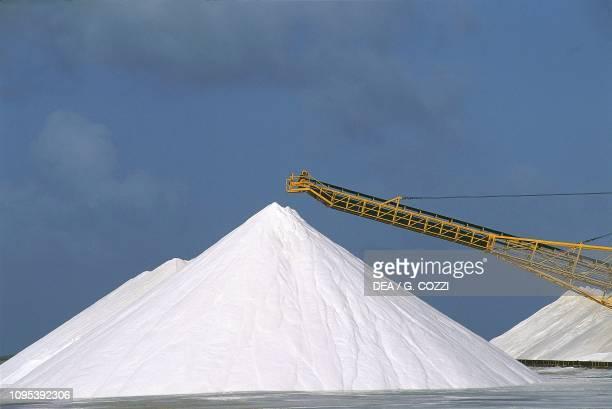 The saltworks of the Antilles International Salt Company, Bonaire Island, Dutch Caribbean.