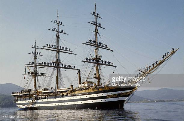 The salute with cheers of Italian Naval Academy cadets drawn up on the yards of the training ship Amerigo Vespucci Italy 1980s