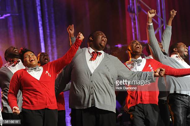The Salvation and Deliverance Church Choir performs at the Super Bowl Gospel Celebration 2012 at Clowes Memorial Hall of Butler University on...