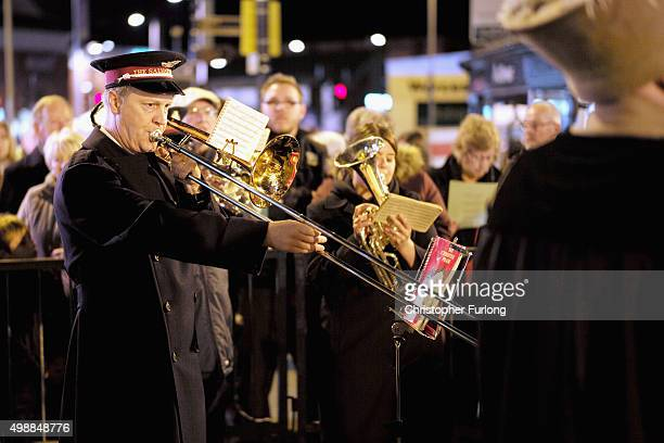 The Salvation Army Band entertain visitors during the Worcester Victorian Christmas Fayre on November 26 2015 in Worcester England Now in its 23rd...