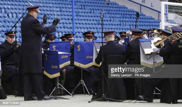 The Salvation Army band play during a memorial service to commemorate the 40th anniversary of the Ibrox Disaster at the Ibrox stadium in Glasgow