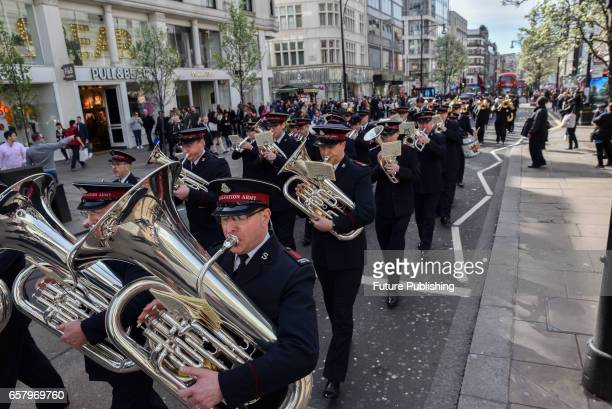 The Salvation Army brass band march and play music along Oxford Street towards Regent Hall on March 26 2017 in London England PHOTOGRAPH BY Matthew...
