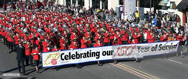 The Salvation Army Tournament of Roses Band marching on the parade route during the 126th Rose Parade Presented by Honda on January 1 2015 in...