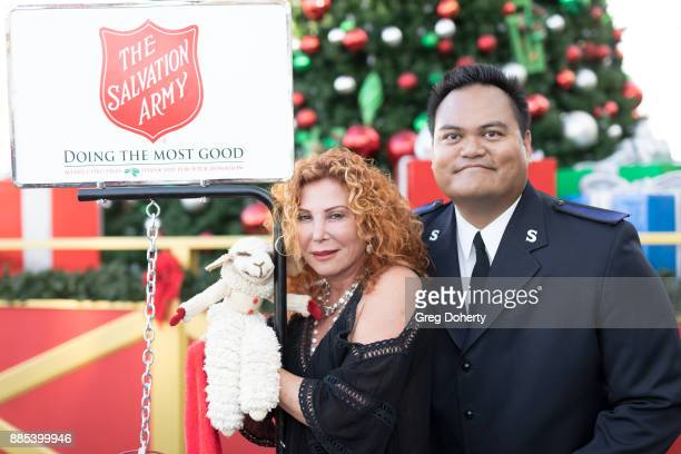 The Salvation Army's Anthony Begonia Writer Mallory Lewis and Lamb Chop attend The Salvation Army Celebrity Kettle Kickoff Red Kettle Hollywood at...