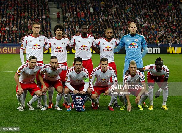The Salzburg team lineup before the UEFA Europa League Round of 16 match between FC Salzburg and FC Basel 1893 at Stadion Salzburg on March 20 2014...