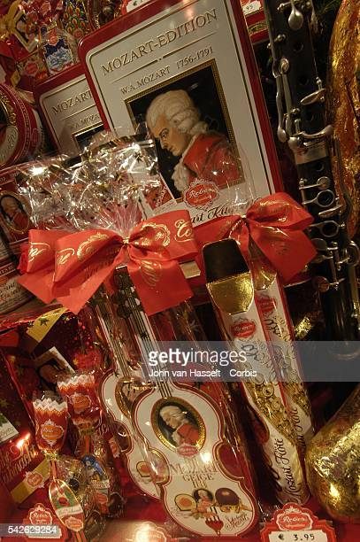 The Salzburger Mozartkugel a chocolate is one of the most famous Mozart souvenirs on sale