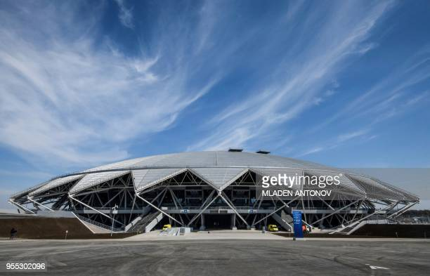 The Samara Arena also known as Kosmos Arena is pictured in Samara Russia on May 6 ahead of the 2018 FIFA World Cup The nearly 45000seater stadium...