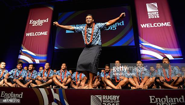The Samoa 2015 World Cup team perform at the welcoming ceremony at Brighton Dome on September 11 2015 in Brighton England