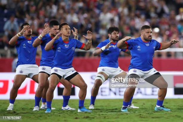 The Samoa players perform the Siva Tau prior the Rugby World Cup 2019 Group A game between Russia and Samoa at Kumagaya Rugby Stadium on September...