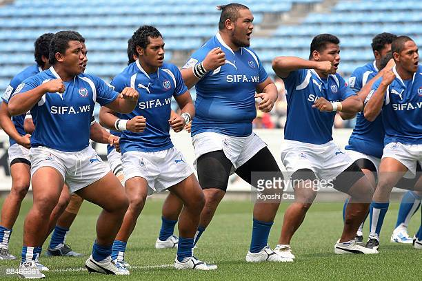 The Samoa players perform the Siva Tau prior to the IRB Junior World Championship Japan 2009 match between England and Samoa at Prince Chichibu...