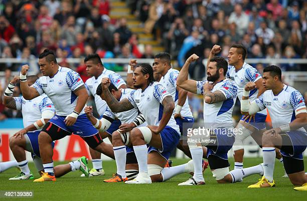 The Samoan team perform the Siva Tau prior to the 2015 Rugby World Cup Pool B match between Samoa and Scotland at St James' Park on October 10 2015...
