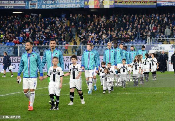 The Sampdoria Calcio players enter the field before the Serie A match between UC Sampdoria and Parma Calcio at Stadio Luigi Ferraris on December 8...