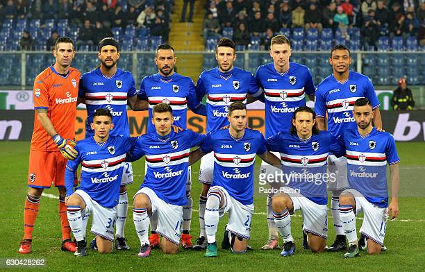 The Sampdoria team poses during the Serie A match between UC Sampdoria and Udinese Calcio at Stadio Luigi Ferraris on December 22 2016 in Genoa Italy