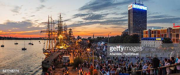 The Samsung building and the boats of the Tall Ships Races festival on the Daugava river