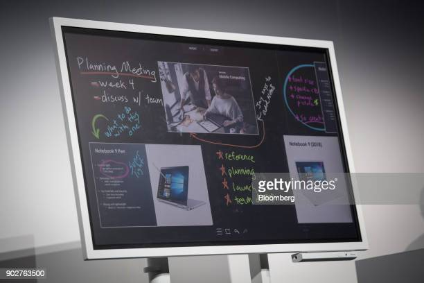 The Samsung Electronics Co Flip digital whiteboard is displayed during the company's press conference at the 2018 Consumer Electronics Show in Las...