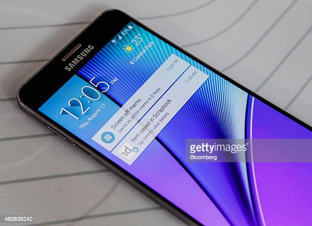 The Samsung Electronics Co Galaxy S6 Edge Plus smartphone is displayed during the Samsung Unpacked 2015 event in New York US on Thursday Aug 13 2015...