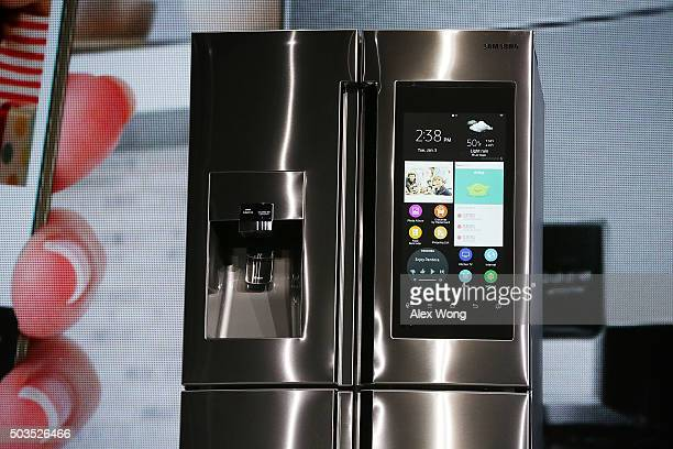 The Samsung Family Hub refrigerator which is connected and features a 215 inch full HD LCD screen with internal cameras to check what is left inside...