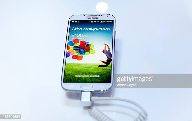 The Samsung Galaxy S IV on display March 14, 2013 in New York City. Samsung, the world's largest handset maker, revealed their successor to the...