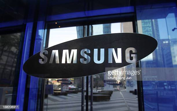 The Samsung logo is displayed at the company's headquarters on December 11 2012 in Seoul South Korea One of the main South Korean presidential...