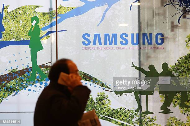The Samsung logo is displayed at the company's headquarters on January 12 2017 in Seoul South Korea The independent counsel team investigating the...
