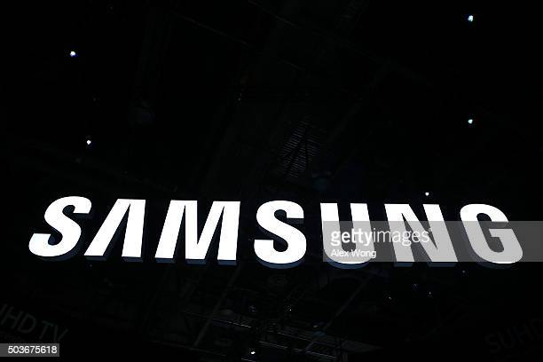The Samsung logo is seen at CES 2016 at the Las Vegas Convention Center on January 6 2016 in Las Vegas Nevada CES the world's largest annual consumer...