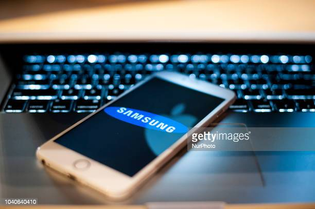 The Samsung logo is seen on a mobile phone in this photo illustration on September 24 2018
