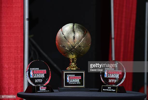 The Samsung NBA Summer League Championship Trophies and MVP Awards are displayed during the game between the Minnesota Timberwolves and the Chicago...