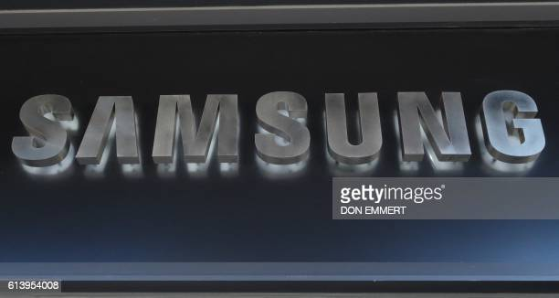 The Samsung sign logo at the entrance of Samsung 837 studio October 11 2016 in New York The epic patent clash between Apple and Samsung went before...