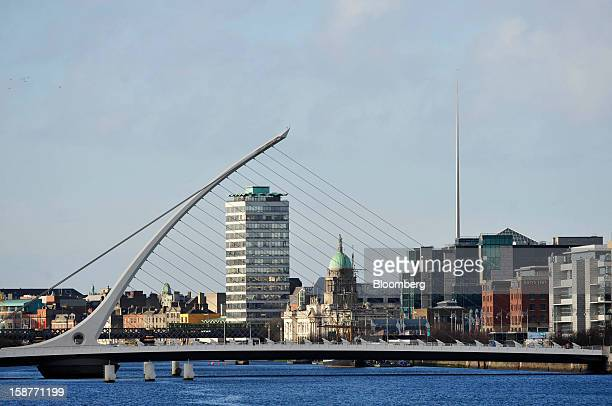 The Samuel Beckett Bridge spans the River Liffey in Dublin Ireland on Thursday Dec 27 2012 Ireland will take over the EU presidency in January as the...