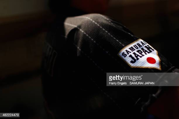 The SAMURAI Japan logo is seen ahead the Haarlem Baseball Week match between Chinese Taipei and Japan at Pim Mullier Stadion on July 16, 2014 in...