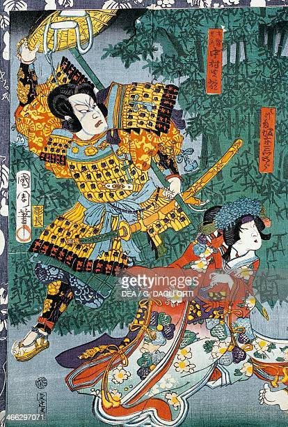 The samurai meeting his beloved in the bamboo garden 19th century ukiyoe art print from the Kabuki theatre series woodcut Japanese civilisation Edo...