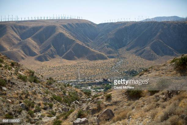 The San Andreas Fault cuts across the Whitewater River Canyon on June 17 2017 near Palm Springs California An earthquake early warning system under...