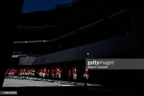 The San Antonio Commanders walk off the field prior to the Alliance of American Football game against the Atlanta Legends at Georgia State Stadium on...