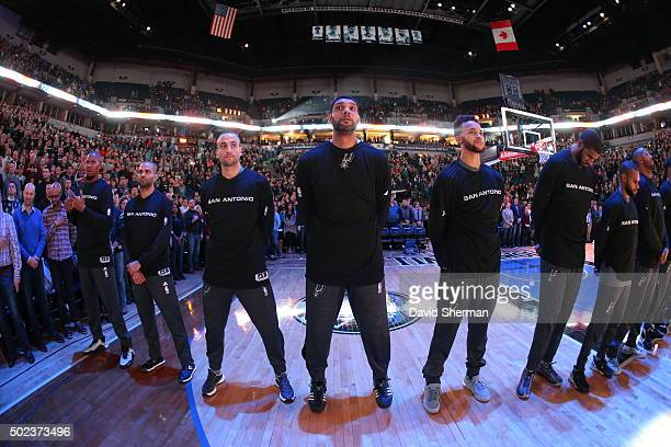 The San Antonio Spurs before the game against the Minnesota Timberwolves during the game on December 23 2015 at Target Center in Minneapolis...