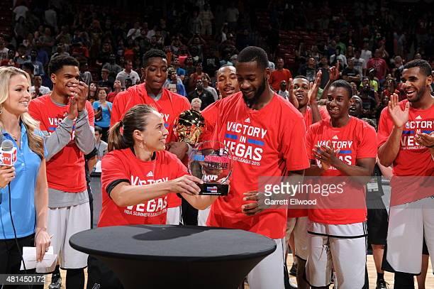The San Antonio Spurs celebrate winning the Las Vegas Summer League Championship against the Phoenix Suns on July 20 2015 at the Thomas Mack Center...