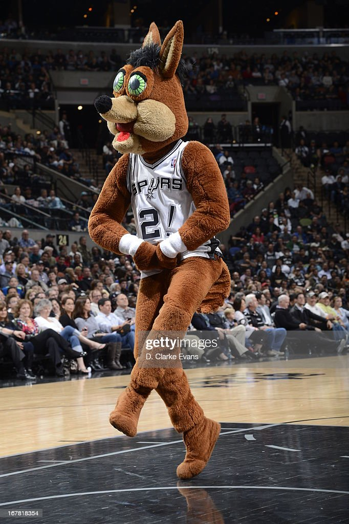 The San Antonio Spurs Coyote mascot perform during the game against the Orlando Magic on April 3, 2013 at the AT&T Center in San Antonio, Texas.
