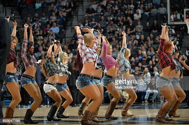 The San Antonio Spurs dance team performs during the game against the Dallas Mavericks on January 29 2017 at the ATT Center in San Antonio Texas NOTE...