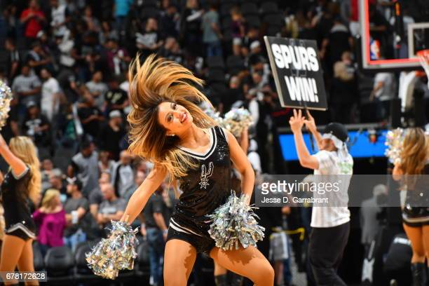 The San Antonio Spurs dance team performs during the game against the Houston Rockets during Game Two of the Western Conference Semifinals of the...