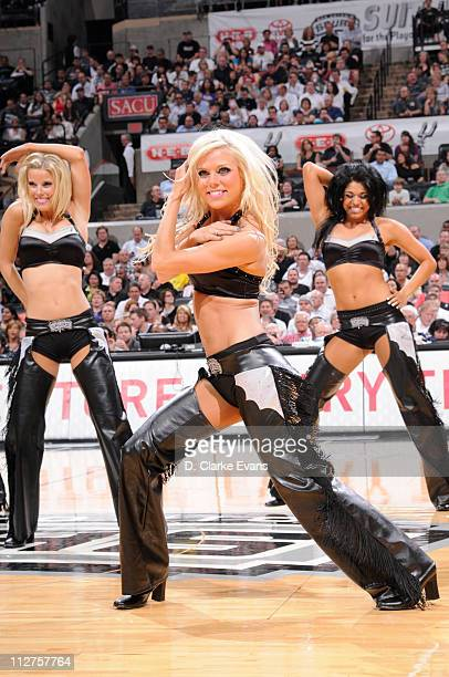 The San Antonio Spurs Dancers perform during a game against the Memphis Grizzlies in Game Two of the Western Conference Quarterfinals in the 2011 NBA...