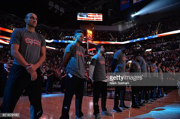 The San Antonio Spurs honor the National Anthem before the game against the LA Clippers on November 5 2016 at the ATT Center in San Antonio Texas...
