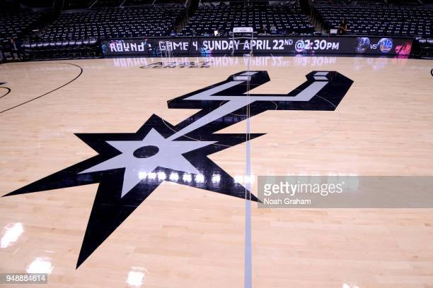 The San Antonio Spurs logo is seen before the game against the Golden State Warriors in Game Three of Round One of the 2018 NBA Playoffs on April 19...