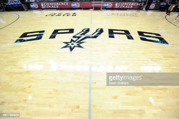The San Antonio Spurs logo is shown before Game Two of the Western Conference Finals against the Oklahoma City Thunder during the 2014 NBA Playoffs...