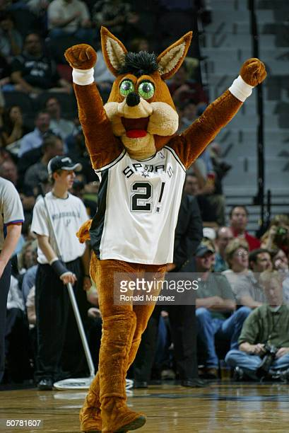 The San Antonio Spurs mascot Coyote entertains the fans in Game two of the Western Conference Quarterfinals against the Memphis Grizzlies during the...