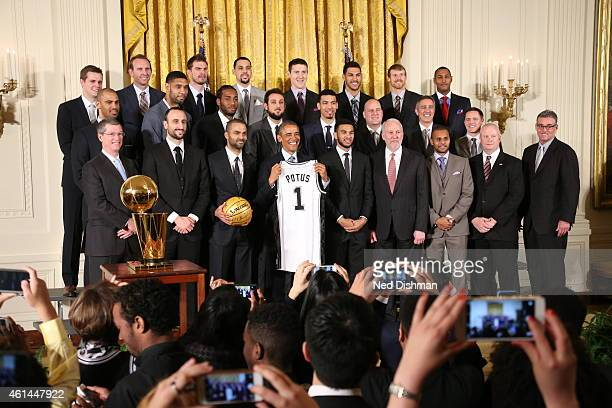 The San Antonio Spurs pose with President Barack Obama during a visit to the White House to celebrate their 2014 NBA Championship on January 12 2015...