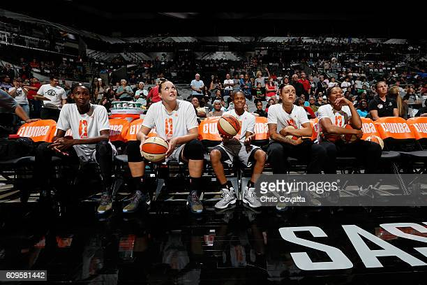 The San Antonio Stars before being introduced before the game against the Phoenix Mercury at the ATT Center on September 18 2016 in San Antonio Texas...