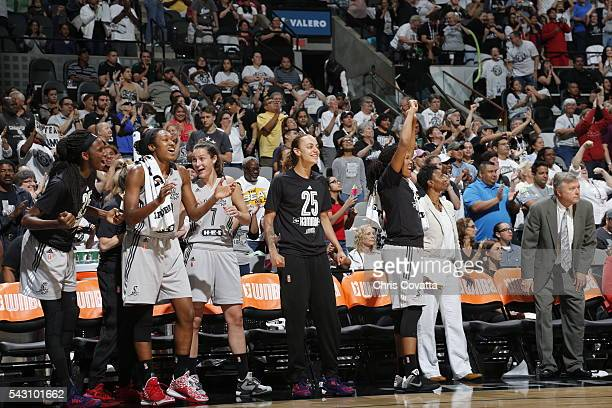 The San Antonio Stars bench are seen during the game against the Atlanta Dream on June 25 2016 at the ATT Center in San Antonio Texas NOTE TO USER...