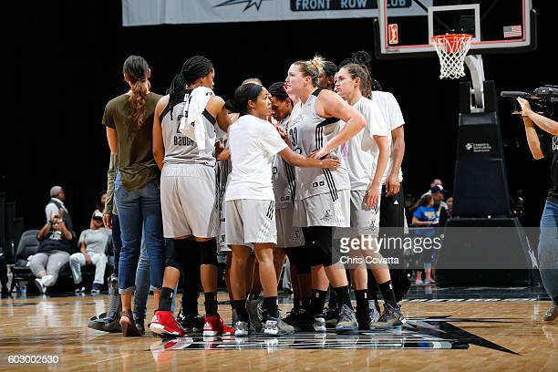 The San Antonio Stars huddle after the game with the Minnesota Lynx on September 11 2016 at ATT Center in San Antonio Texas NOTE TO USER User...
